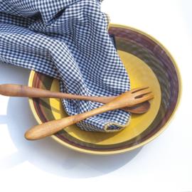 Tafelkleed Bliek Tof Tafelen - zwart/ruit met gele rand