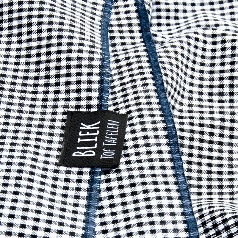 Tafelkleed Bliek Tof Tafelen - zwart/ruit met blauwe rand