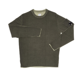 C.P. COMPANY KNIT COTTON CREPE DYED SWEATER GREEN