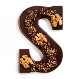 Chocoladeletter S puur met noten