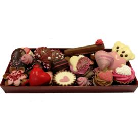 Valentijn chocolade in bakje