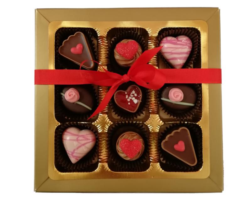 Bonbons geschenkdoos 9 vaks liefde