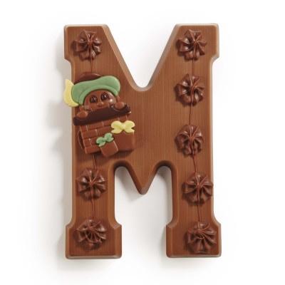 Chocoladeletter M; in de varianten puur, melk