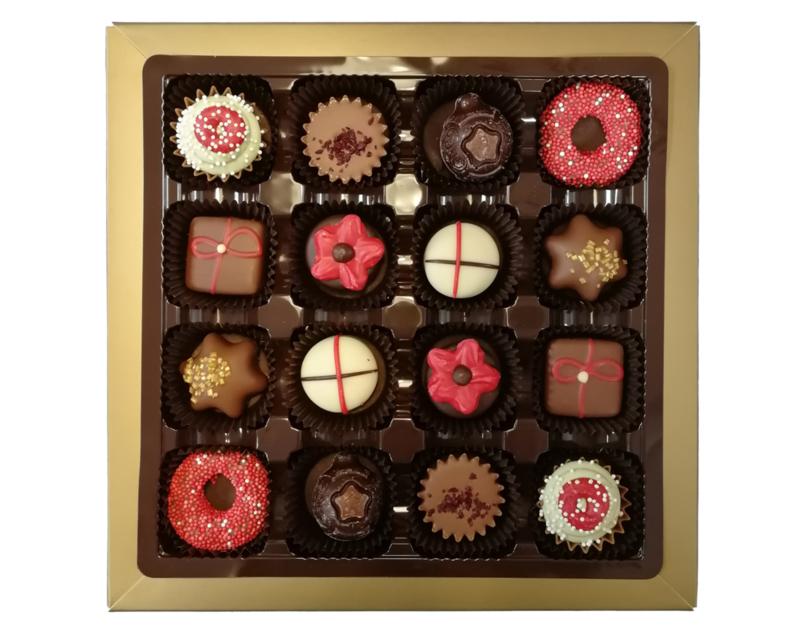 Bonbons geschenkdoos 16 vaks kerst