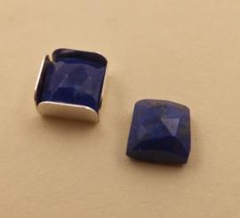 Lapis Lazuli facet vierkant 6 x 6 mm. Met zetbakje