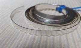 Zetkastenband glad hoog 3,2mm, dik 0,4 mm, prijs per cm, fijn zilver