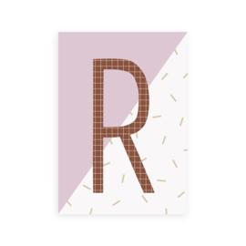 Postkaart letter R - Leonie van der Laan