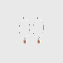 Pearl Creole Earrings Silver - Julia Otilia