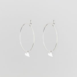 Tiny Heart Creole Earrings Silver - Julia Otilia
