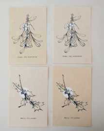 Kerstkaart Mistletoe set van 2x2 - SAGSTROM&co