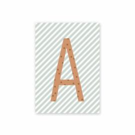 Postkaart Letter A streep mint - Leonie van der Laan