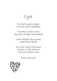 Postkaart Liefde zwart/wit - Little Universe