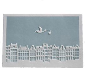 Wenskaart Baby skyline Blauw - Letterpers