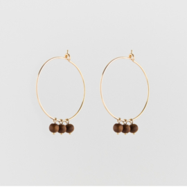 Sandal Wood Earrings Gold - Julia Otilia