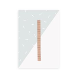 Postkaart letter I - Leonie van der Laan
