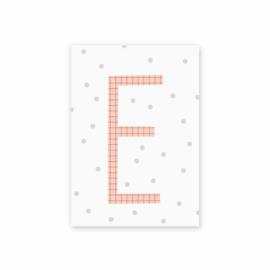 Postkaart Letter E stip - Leonie van der Laan