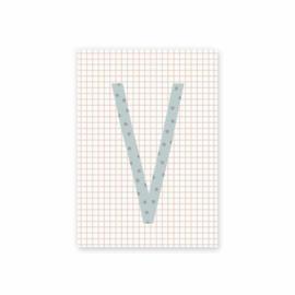 Postkaart Letter V stip donkerblauw - Leonie van der Laan