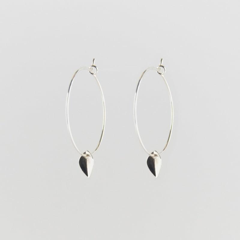 Mini Leaf Creole Earrings Silver - Julia Otilia