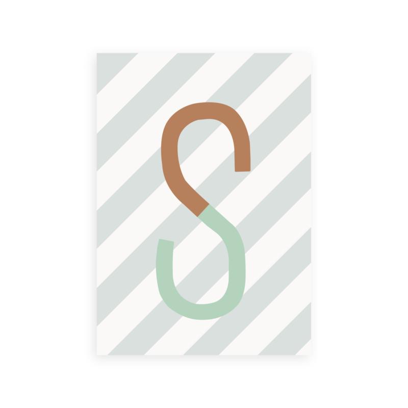 Postkaart letter S streep - Leonie van der Laan