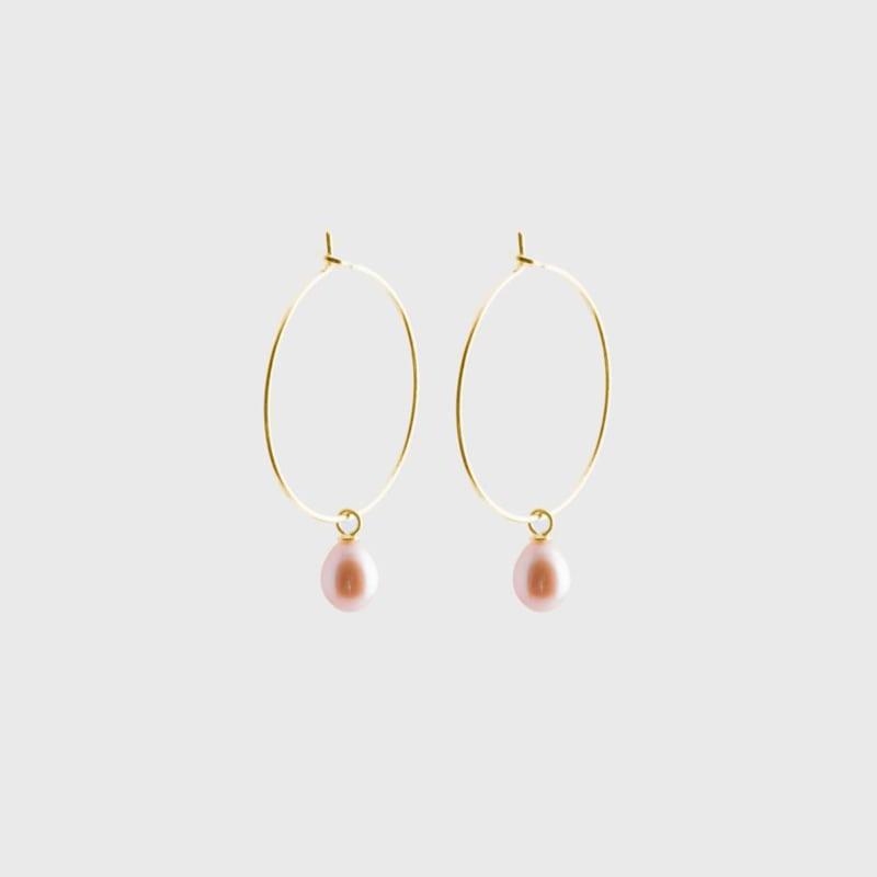 Pearl Creole Earrings Gold - Julia Otilia