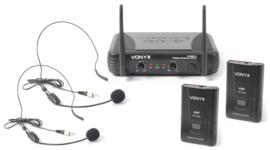 STWM712H 2-kanaals VHF Draadloos Miceofoonsysteem met hedsets