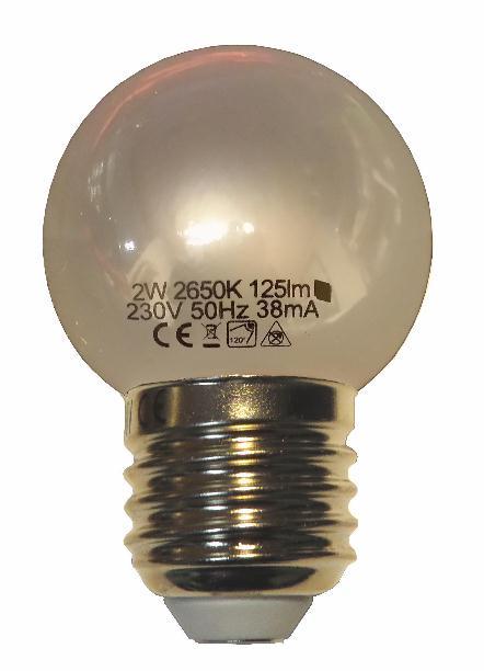 10 stuks LED lamp frost 1watt warmwit 2650k