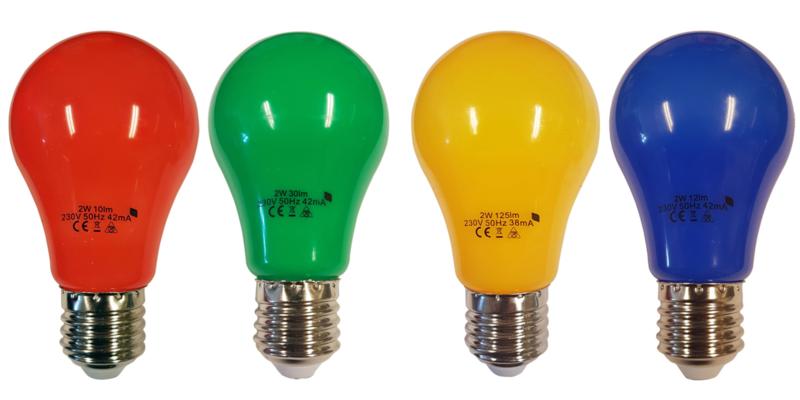 4 stuks LED lamp 2watt peervorm mix van 4 kleuren