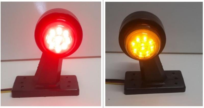 Breedtelamp Oranje/Rood 18 LED Kort 10-30V