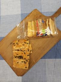 Maiscrackers met pompoenpit/kaas