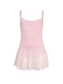 Roze balletpak met glitter rok kinderen (12pk4051)