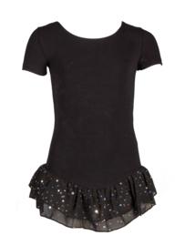 Zwart balletpak met glitterfrill kinderen (12pk4043)