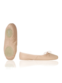 Roze balletschoen met gespleten zool, van leer voor volwassenen (PA1002)