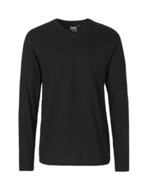 Mannen T-shirt met V-hals en lange mouwen (O61055)