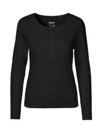 Dames T-shirt met lange mouwen en knoopjes (O81051)