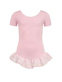 Roze balletpak met glitterfrill kinderen (12pk4043)