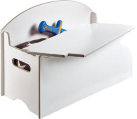 Speelgoedkist hout wit - 45x70x35 cm
