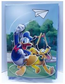Disney Donald Duck en Pluto 3D verjaardagskaart met envelop