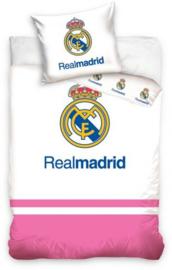 Dekbedovertrek Real Madrid logo wit/roze - 100 x 135 cm