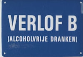 Verlof B Muurschild 14,5x10 cm
