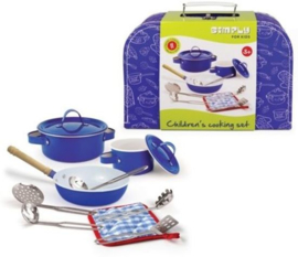 Kookset in koffer Simply for Kids - blauw
