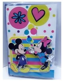Disney Mickey en Minnie 3D verjaardagskaart met envelop
