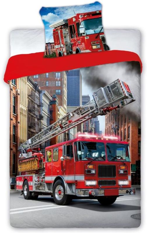 Dekbedovertrek brandweerwagen - 140x200