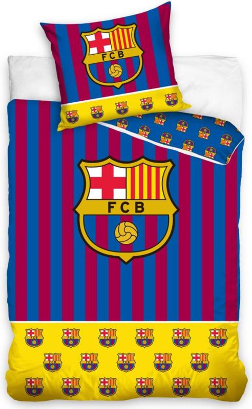 FC Barcelona Dekbedovertrek Stripes logo's - 140x200 cm