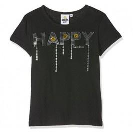 Smiley t-shirt zwart - maat 140
