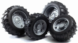 Silver wheels for 02000 series tractors. Bruder BRU02001 Scale 1:16