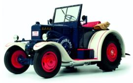 Lanz Eilbulldog cabrio in Blauw-Wit SC168 1:18 Schuco.