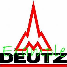Deutz Logo op vlag +/- 35X50 cm .( met raket)