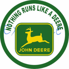 John Deere Nothing runs logo op vlag +/- 35X50 cm