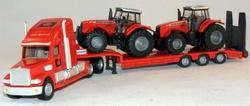 Amerikaanse truck MF rood + 2 MF tractoren Si1857 Schaal 1:87