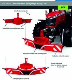 Tractor Safety Bumper with weight in Massey Ferguson Red UH6250. 1:32